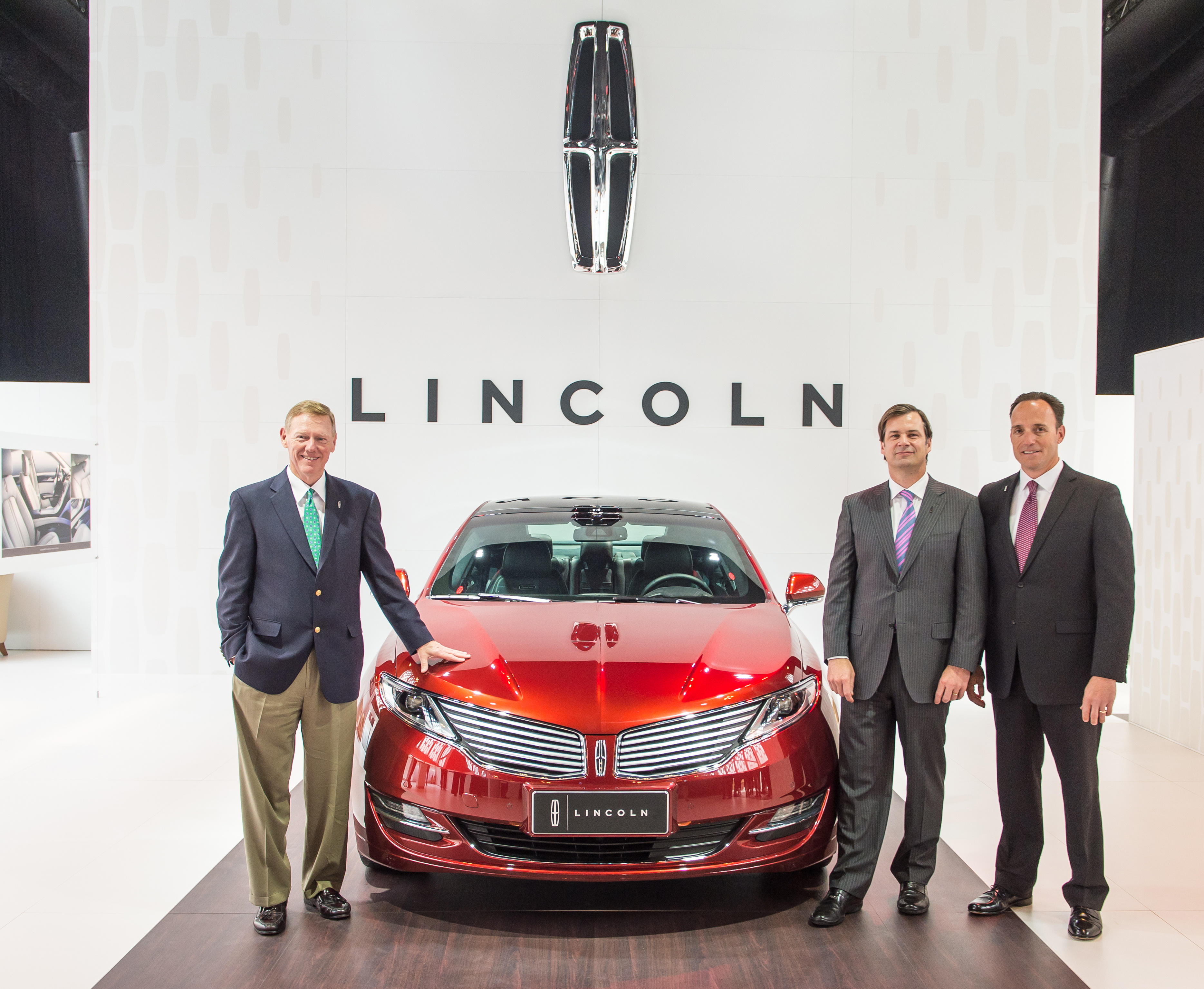 Lincoln officially introduces its brand to China today, offering an innovative ownership experience unlike any other to meet the evolving needs of today's Chinese luxury auto customer. Making the announcement are (left to right) Alan Mulally, president and CEO, Ford Motor Company; Jim Farley, executive vice president, Ford global marketing, sales and service and Lincoln; and Robert Parker, president, Lincoln China. (Photo: Business Wire)
