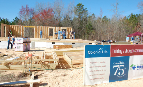 Colonial Life employees build a Habitat for Humanity home as part of the company's 75th anniversary celebration. (Photo: Business Wire)