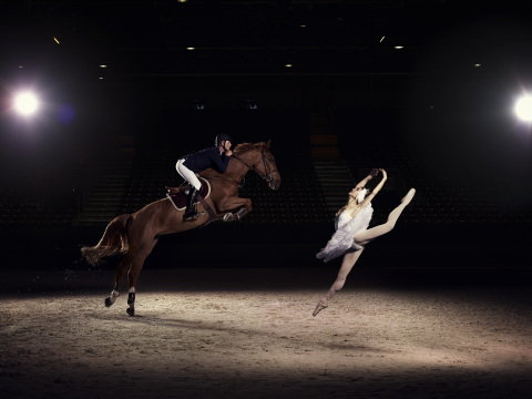US Elite Jumping rider Charlie Jacobs demonstrates the power and athleticism of his sport, alongside Liudmila Khitrova from the Minsk Bolshoi, ahead of the Longines FEI World Cup™ Jumping Final in Lyon, France (17-21 April) (Photo: Business Wire)