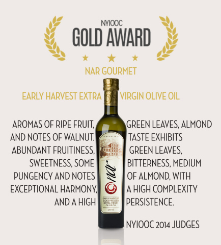 NAR Gourmet Wins Gold Award at the 2014 New York International Olive Oil Competition (Photo: Business Wire)