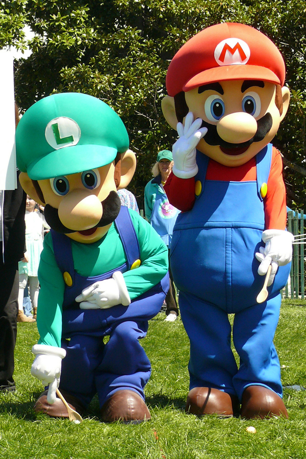 "In this photo provided by Nintendo of America, Mario and Luigi partake in the 136th annual White House Easter Egg Roll on April 21, 2014, in President's Park (one of America's 401 national parks!) Nintendo joined with the National Park Foundation to offer guests the opportunity to play Wii Fit U and Wii Sports Club, two active games that align with this year's event theme, ""Hop Into Healthy, Swing into Shape,"" which encourages children and families to live healthier and more active lifestyles. (Photo: Business Wire)"