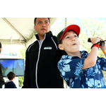 In this photo provided by Nintendo of America, Eric G. from Fairfax, Va., practices his golf swing during a game of Wii Sports Club prior to heading to the South Lawn for the 136th annual White House Easter Egg Roll on April 21, 2014, in President's Park (one of America's 401 national parks!) Nintendo joined with the National Park Foundation to offer guests the opportunity to check out Wii Fit U and Wii Sports Club, two video games that ask players to get up and get active with Wii U, Nintendo's HD home console. (Photo: Business Wire)