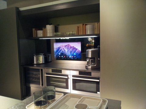 Elam's interactive Kitchen, mirror hide technology, touchscreen, voice commands, technology provided ...