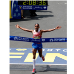 Meb crossing the finish line in his signature Skechers GOmeb Speed 3 shoes for the win at the 2014 Boston Marathon. (Jim Rogash / Getty Images)