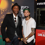 Aloe Blacc and David Correy at the FIFA World Cup(TM) Trophy Tour by Coca-Cola experience in Los Angeles before performing 'The World is Ours' by Aloe Blacc x David Correy. (Photo: Michael Buckner)