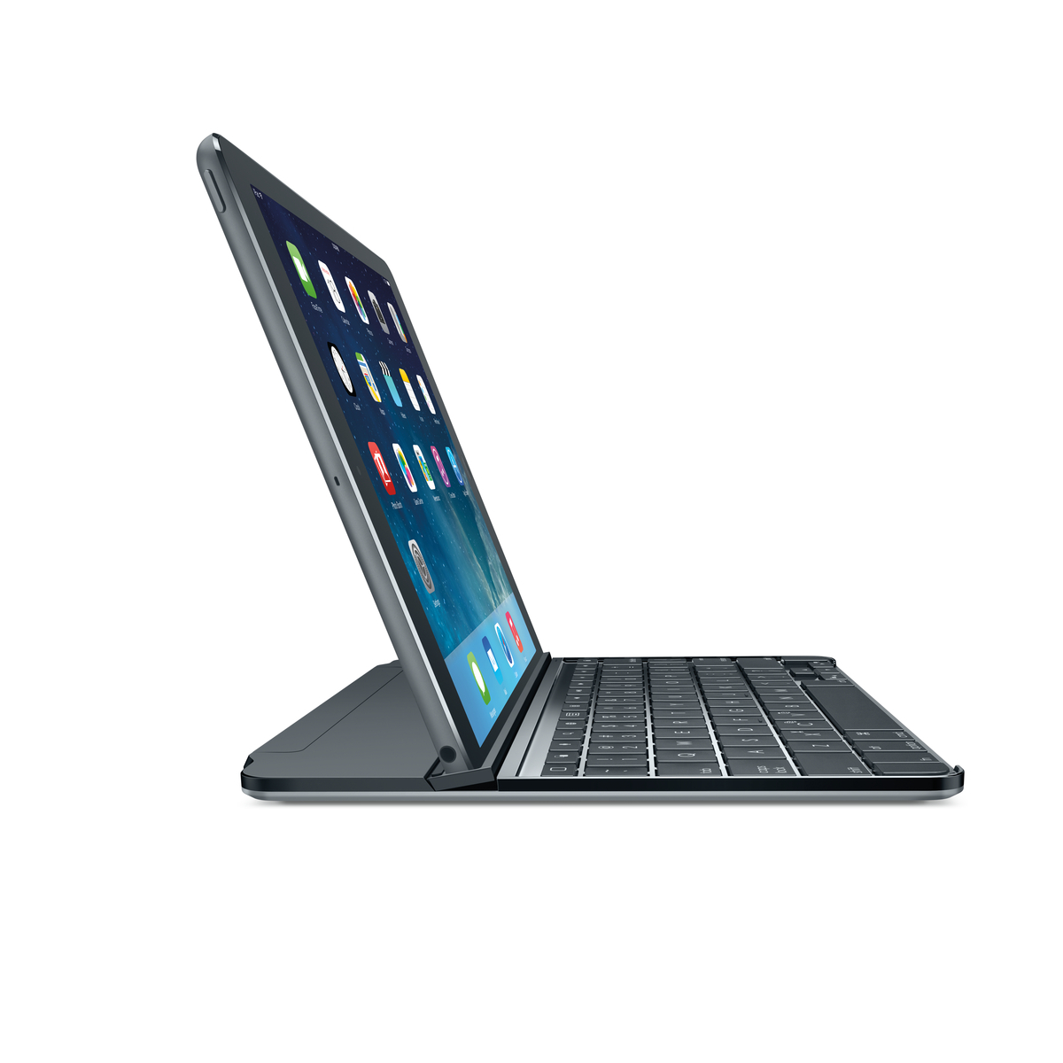 The new Logitech Ultrathin for iPad Air, iPad mini and iPad mini with Retina display improves the flexibility and design of its award-winning predecessor with an even thinner and lighter keyboard cover, and a new multi-angle slot that adds the freedom to adjust the viewing angle. (Photo: Business Wire)