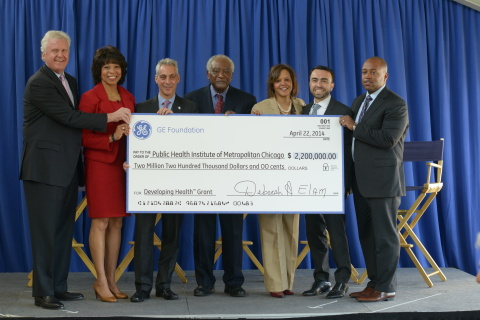 GE Chairman and CEO Jeff Immelt, GE Foundation President Deborah Elam, Mayor Rahm Emanuel, Congressman Danny Davis, Congresswoman Robin Kelly, Commissioner of the Chicago Department of Public Health Dr. Bechara Choucair and CEO of GE Transportation Russell Stokes (left to right) present the $2.2 million GE Foundation Developing Health grant to expand the city of Chicago's innovative cardiovascular screening program. (Photo: GE)