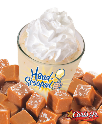 Carl's Jr.'s new Sea Salt & Caramel Shake features hand-scooped vanilla ice cream blended with buttery caramel syrup and topped with sea salt toffee crumbles and whipped cream. (Photo: Business Wire)