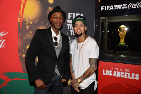 Aloe Blacc and David Correy at the FIFA World Cup(TM) Trophy Tour by Coca-Cola experience in Los Ang ...