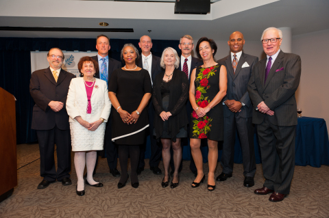 Photo by: Imagez Photography 2013 Beckman Award Recipients Front Row L to R: Thomas Gutheil, MD, Florence Denmark, PhD, Velma Murry, PhD, Suzanne Johnson, PhD, Clare Pastore, JD, Thomas Mitchell, JD, Joseph Trimble, PhD Back Row L to R: Mark Meier, MD, David Penn, PhD, Craig McClain, MD