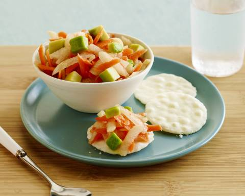 Jicama Avocado Slaw on Rice Crackers, created by Katie Ferraro, MPH, RD, CDE for the California Avocado Commission (Photo: Business Wire)