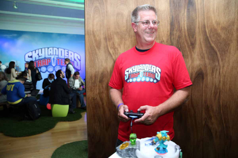 Activision employee James Johnson plays the Skylanders video game after Activision Publishing, Inc.  ...