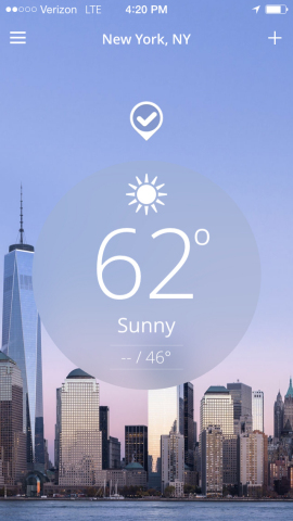 The Weather Channel App for iPhone has been redesigned to offer an all-new look and interface, quicker access to content, and a new social feature that lets fans report weather conditions. (Graphic: Business Wire)