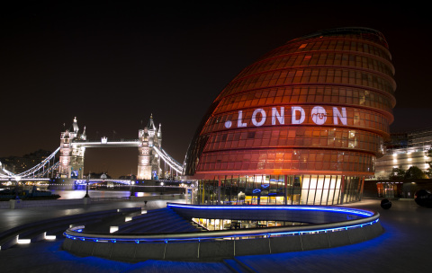 New .London domain name projected onto the nighttime London skyline (Photo: Business Wire)