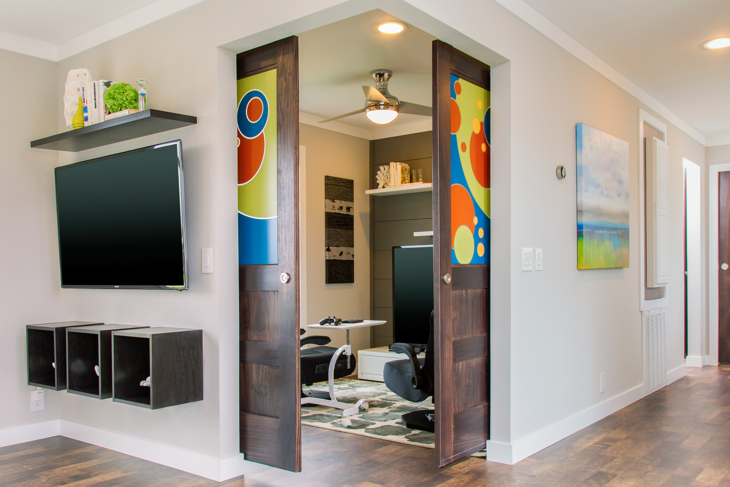 The Flex Room provides additional space that adapts with growing needs, changing from a gaming room now to a playroom in the future. (Photo: Clayton Homes)