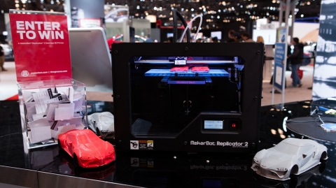 MakerBot was at the Toyota booth this week at the New York International Auto Show 3D printing model ...