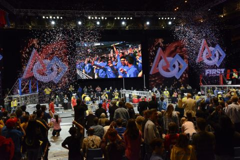 The science of celebration! Teams of high-school students from Calif., Mich., and Texas rejoice afte ...