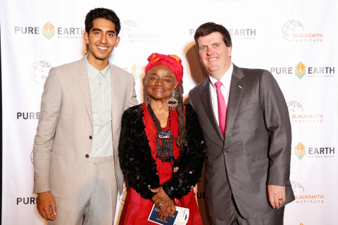 Dev Patel with artist Faith Ringgold and Pure Earth/Blacksmith Institute President Richard Fuller at the inaugural Pure Earth benefit gala held on April 26, 2014, in NYC. Patel has teamed up with nonprofit Blacksmith Institute to help launch Pure Earth (www.pureearth.org), a new campaign aimed at raising awareness of the threat toxic pollution poses to poor children living in some of the world's worst polluted places. Ringgold created a work of art for auction at the gala. (Photo: Pure Earth/Blacksmith Institute)