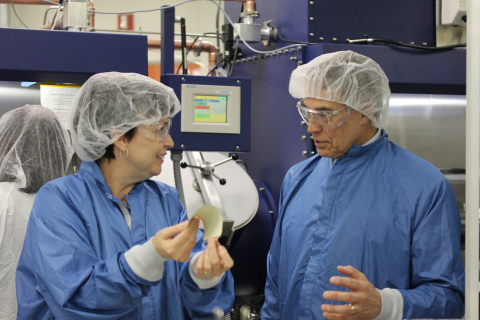 Universal Display Corporation CTO Dr. Julie Brown demonstrates to U.S. Representative Rush Holt how  ...