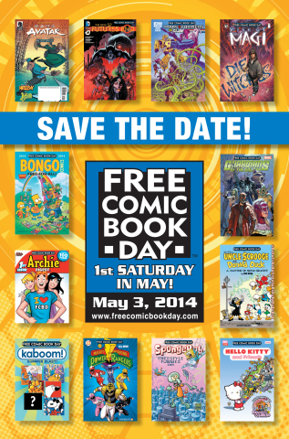 Twelve of the Gold level Free Comic Book Day comics are showcased in a mini-poster sent to retailers to promote the event. (Graphic: Business Wire)