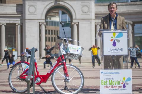 Governor John Hickenlooper joins LiveWell Colorado and Kaiser Permanente to kick off the 2014 Colorado Get Movin' Challenge. Credit: Evan Semon.