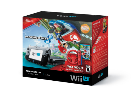 On May 30 Nintendo is releasing the Mario Kart 8 Deluxe Set bundle that includes a Wii U Deluxe Set system, a Mario Kart 8 game, a red Mario Wii Wheel accessory and a red Mario Wii Remote Plus controller, all at a suggested retail price of just $329.99. (Photo: Business Wire)