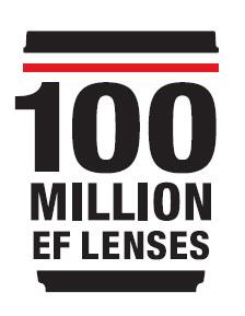 100 Million EF lenses commemorative logo (Graphic: Business Wire)
