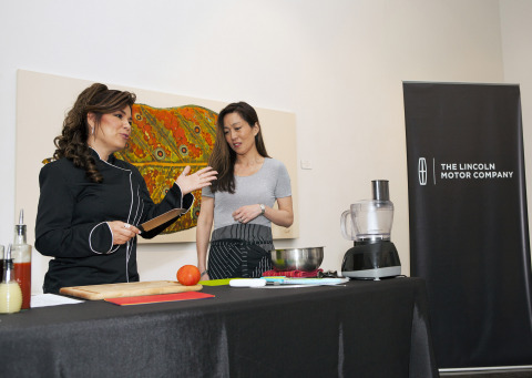 The 2015 Lincoln MKC, the brand's first small premium utility, is engaging the senses through a tour of cities this spring. On April 29, the vehicle was at Cafeina Wynwood Lounge in Miami. Celebrity chef Minerva Vazquez (left) and Janet Seymour, Lincoln color and materials design manager, compared the similarities between their two disciplines, including the use of quality ingredients combined with meticulous preparation and attention to detail. (Photo: Business Wire)