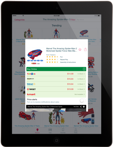 TTPM, a consumer website publishing reviews, videos, and live price updates for all things play, today announced that the Shop for Kids by TTPM app is now optimized for iPad. The app simplifies the experience of searching for and buying children's products, including letting users view real-time, online price and availability of a product at major retailers. (Photo: Business Wire)