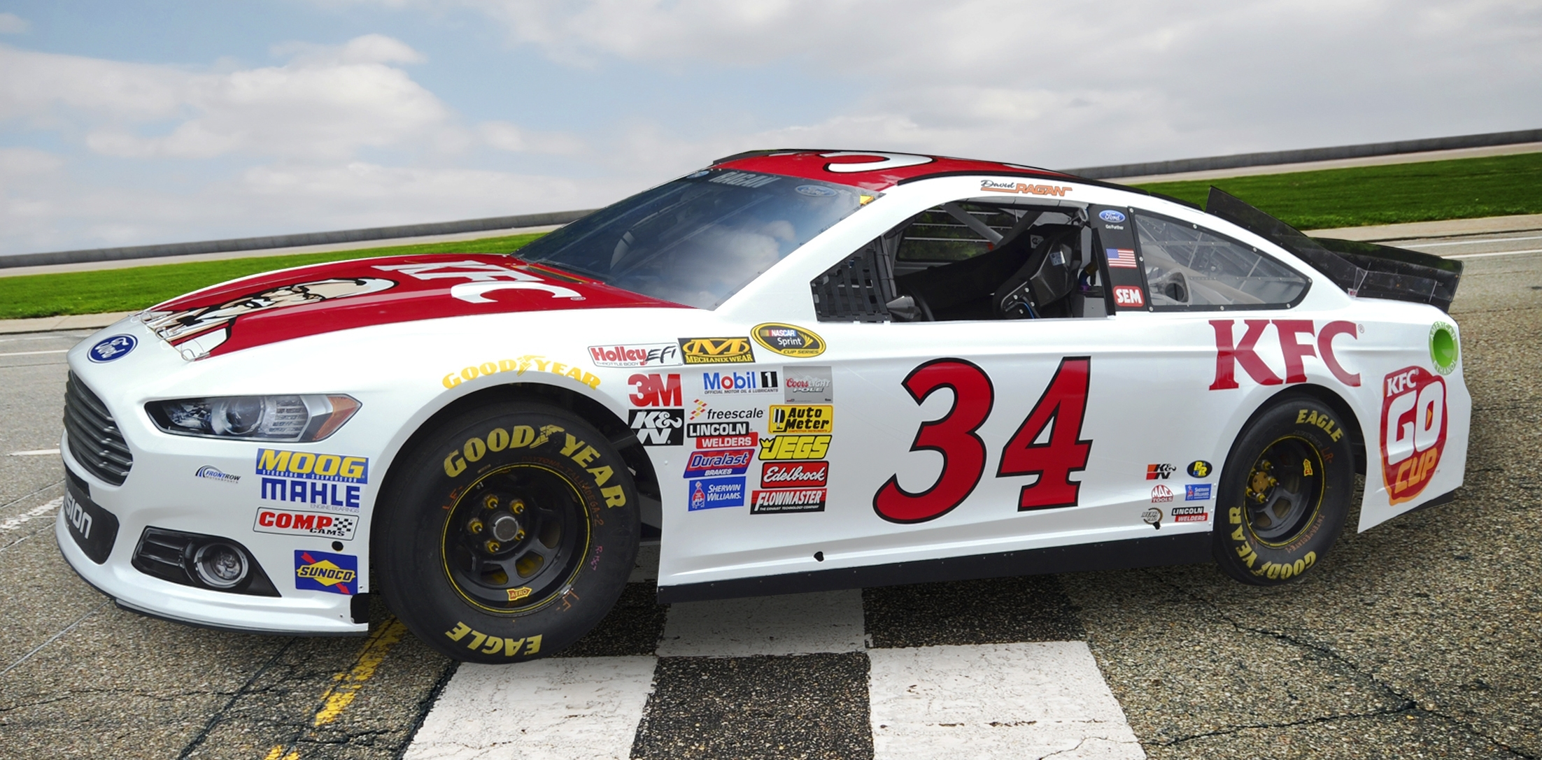 David Ragan will drive the No. 34 KFC Go Cup Ford Fusion in this weekend's NASCAR Sprint Cup race in Talladega, Ala. (Photo: Business Wire)