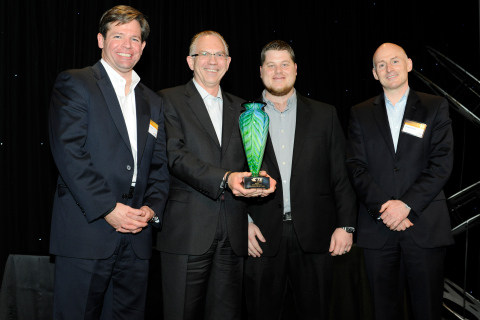 Mouser Electronics has received the 2013 Catalog Global Distributor of the Year Award from TE Connectivity. Pictured from left to right are executives Terrence Curtin, TE President, Industrial Solutions, Glenn Smith, Mouser CEO & President, Les Balamut, Mouser Corporate Supplier Manager, and James O'Toole, TE President, Consumer Solutions. (Photo: Business Wire)
