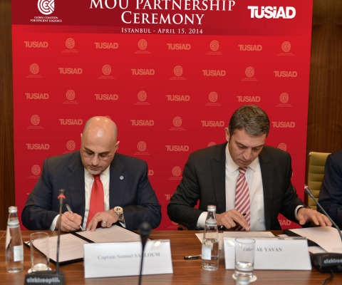 GCEL's Co-Chairman Captain Salloum and Mr. Zafer Yavan, TÜSİAD Secretary-General, sign MOU to empower Digital Economy in Turkey (Photo: Business Wire)