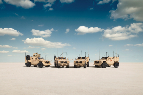 The Oshkosh M-ATV family of vehicles combines the industry's most effective battle-proven technologies with the automotive performance and crew protection necessary to support troops anywhere the mission requires. Pictured from left, Oshkosh Defense M-ATV Extended Intervention (EXI), Extended Engineer (EXE), Extended Command (EXC), and Standard Special Forces (SXF) vehicles. (Photo: Business Wire)