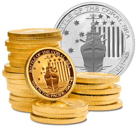 New.Limited.Exclusive. Battle of the Coral Sea bullion coins.