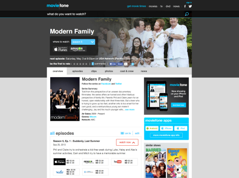 The new Moviefone now incorporates television shows past and present, giving each series a dedicated page. This helps consumers solve the problem of what to watch and where to watch it. (Graphic: Business Wire)