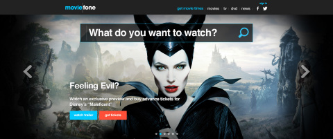 """The new Moviefone homepage is driven by high-impact visuals and the ubiquitous """"What to watch and where to watch it?"""" search functionality. (Graphic: Business Wire)"""