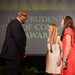 Academy Award-winning actor Forest Whitaker congratulates Ellie Burger, 16, of Dover (center) and Lindsey Arruda, 12, of Somerset (right) on being named Massachusetts' top two youth volunteers for 2014 by The Prudential Spirit of Community Awards. Ellie and Lindsey were honored at a ceremony on Sunday, May 4 at the Smithsonian's National Museum of Natural History, where they each received a $1,000 award. (Photo: Business Wire)