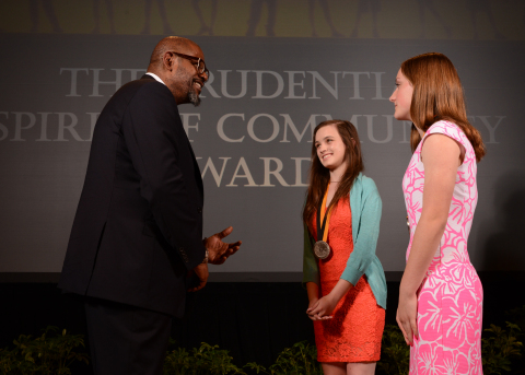 Academy Award-winning actor Forest Whitaker congratulates Molly Paul, 15, of Raleigh (center) and Leanne Joyce, 14, of Chapel Hill (right) on being named North Carolina's top two youth volunteers for 2014 by The Prudential Spirit of Community Awards. Molly and Leanne were honored at a ceremony on Sunday, May 4 at the Smithsonian's National Museum of Natural History, where they each received a $1,000 award. (Photo: Business Wire)