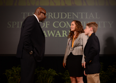 Academy Award-winning actor Forest Whitaker congratulates Alexis Werner, 18, of Pittsburgh (center) and Nikolas Toocheck, 11, of West Chester (right) on being named Pennsylvania's top two youth volunteers for 2014 by The Prudential Spirit of Community Awards. Alexis and Nikolas were honored at a ceremony on Sunday, May 4 at the Smithsonian's National Museum of Natural History, where they each received a $1,000 award. (Photo: Business Wire)
