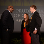 Academy Award-winning actor Forest Whitaker congratulates Hailey Daniels, 18, of Ogden (center) and Luke Hughes, 14, of Bountiful (right) on being named Utah's top two youth volunteers for 2014 by The Prudential Spirit of Community Awards. Hailey and Luke were honored at a ceremony on Sunday, May 4 at the Smithsonian's National Museum of Natural History, where they each received a $1,000 award. (Photo: Business Wire)