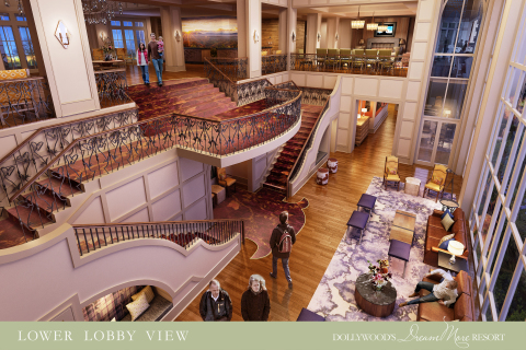 A glimpse into the three-floor lobby of Dollywood's DreamMore Resort. (Photo: Business Wire)