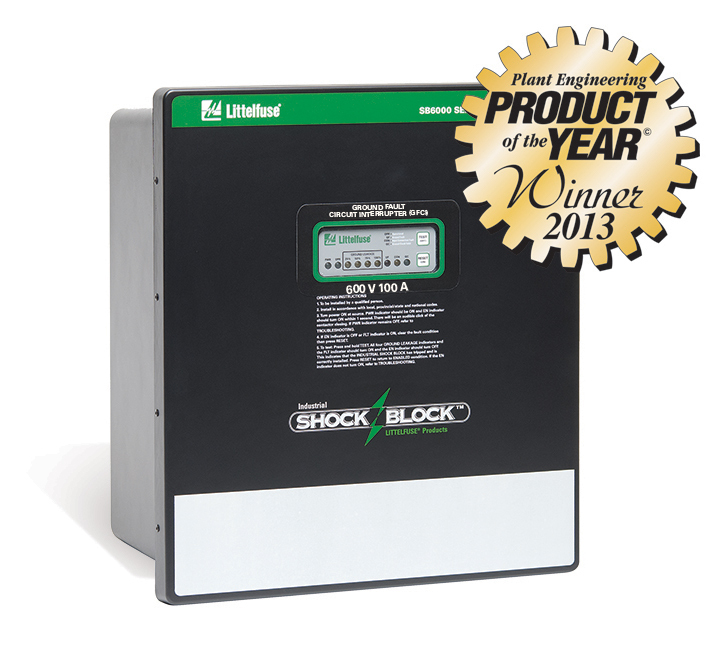 The Littelfuse SB6100 Industrial Shock-Block(TM) GFCI wins Silver Award in the Plant Engineering 2013 Product of the Year in the Electrical Safety category. (Graphic: Business Wire)