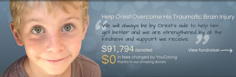 Orest, a fundraising recipient of YouCaring.com--which was recently named best crowdfunding platform by CrowdsUnite.com (Graphic: Business Wire)