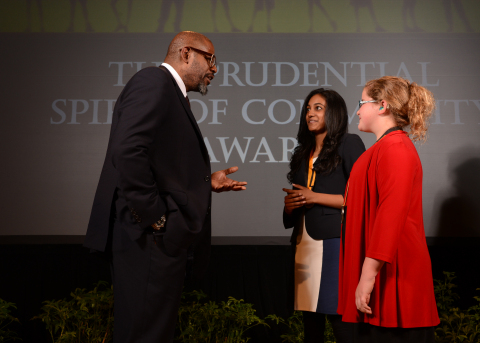 Academy Award-winning actor Forest Whitaker congratulates Dhivya Sridar, 16, of Novi (center) and Lillian Diuble, 11, of Manchester (right) on being named Michigan's top two youth volunteers for 2014 by The Prudential Spirit of Community Awards. Dhivya and Lillian were honored at a ceremony on Sunday, May 4 at the Smithsonian's National Museum of Natural History, where they each received a $1,000 award. (Photo: Business Wire)