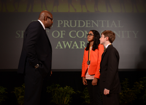 Academy Award-winning actor Forest Whitaker congratulates Sarita Damaraju, 15, of Corpus Christi (center) and William Lourcey, 11, of Fort Worth (right) on being named Texas' top two youth volunteers for 2014 by The Prudential Spirit of Community Awards. Sarita and William were honored at a ceremony on Sunday, May 4 at the Smithsonian's National Museum of Natural History, where they each received a $1,000 award. (Photo: Business Wire)