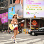 NEW YORK, NY - MAY 06: The Naked Cowboy officially changes his underwear to Fruit of the Loom's new Boxer Briefs at Times Square on May 6, 2014 in New York City. (Photo by Craig Barritt/Getty Images for Fruit of the Loom)
