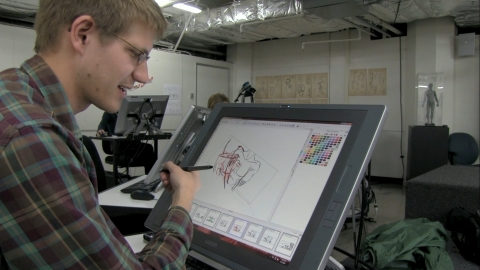 Brad cleans up a scene in his storyboard, 'Loose Cannon Claptrap,' as part of the Academy of Art Uni ...