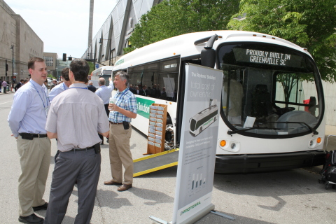A crowd gathered at the American Public Transportation Association trade show on Monday to witness the unveiling of the Proterra Solution, a second-generation American-made EV bus. (Photo: Business Wire)