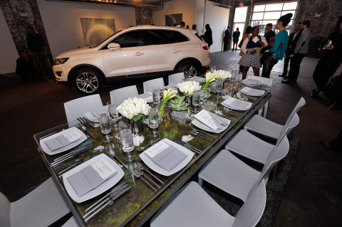 The 2015 Lincoln MKC, the brand's first small premium utility, is engaging the senses through a tour of cities this spring. On Monday, May 5, Robert Brown and Todd Davis, founders of Brown Davis Interiors, and Antonio Molinari, Lincoln MKC interior designer and Dillon Blanski, Lincoln MKC exterior designer, discussed progressive, classic design with a modern twist during a luncheon at Long View Gallery in Washington, D.C. Photo credit: Getty Images for The Lincoln Motor Company.