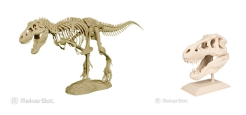 MakerBot released two new 3D printable models today: a T-Rex Skeleton on the MakerBot Digital Store and a T-Rex Skull on Thingiverse.com. (Photo: Business Wire)